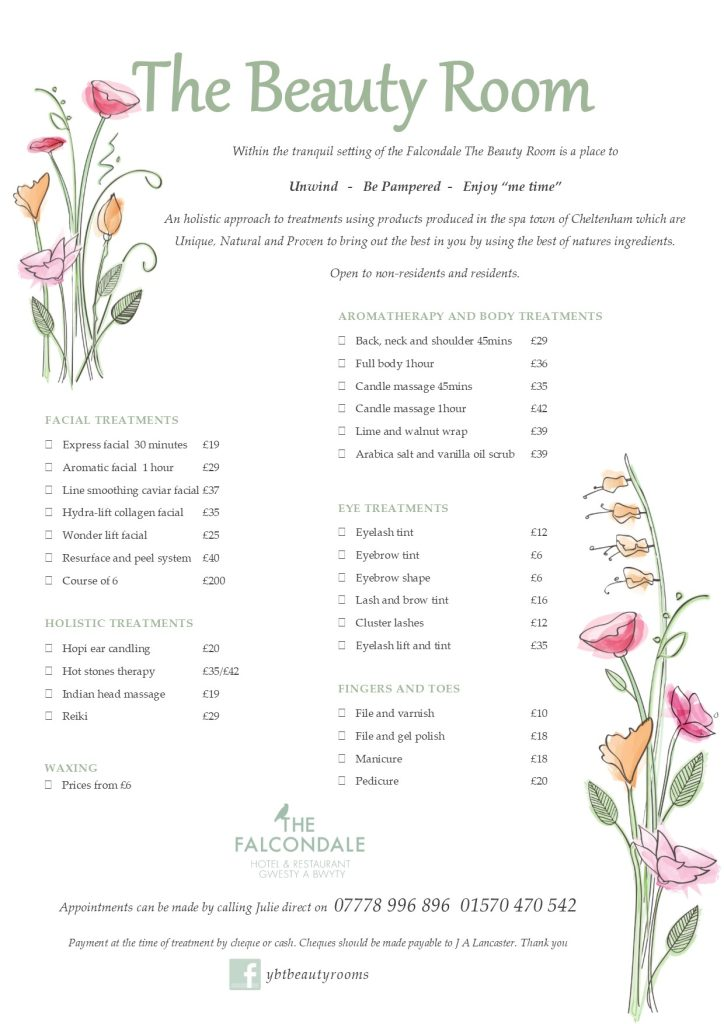 Beauty Room Treatment List 2017