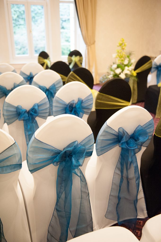 Blue covered civil ceremony room
