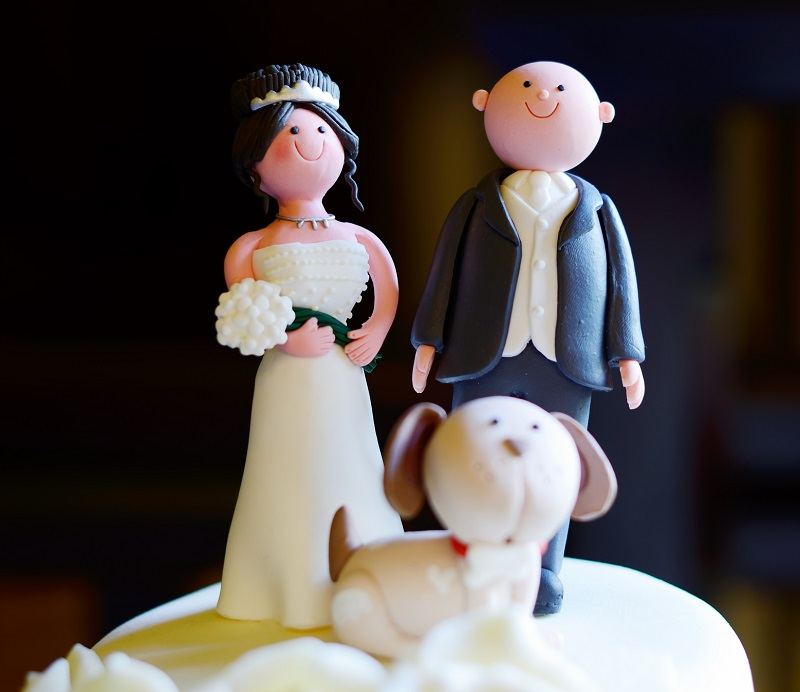 A canine cake topper on your wedding cake can add a simple finishing touch to your dog friendly wedding