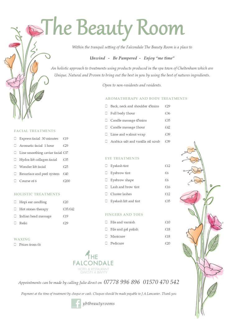 Beauty Room Treatment List 2017