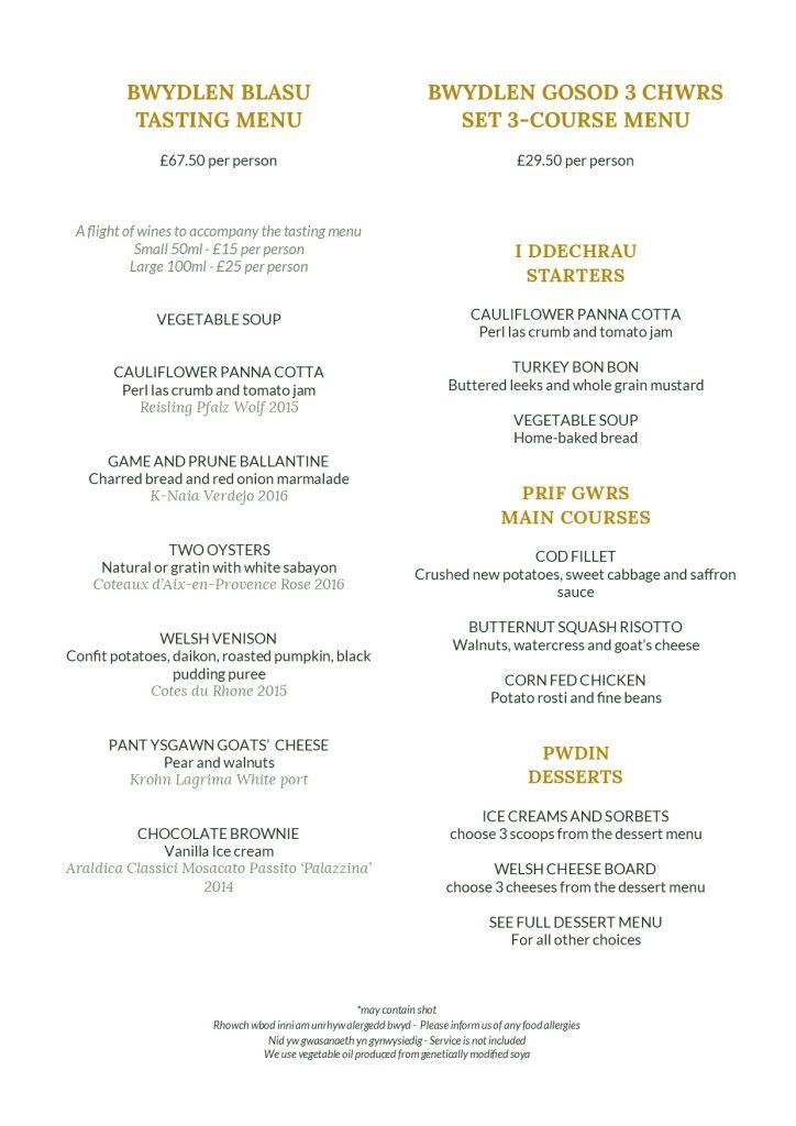 Set dinner and tasting menus
