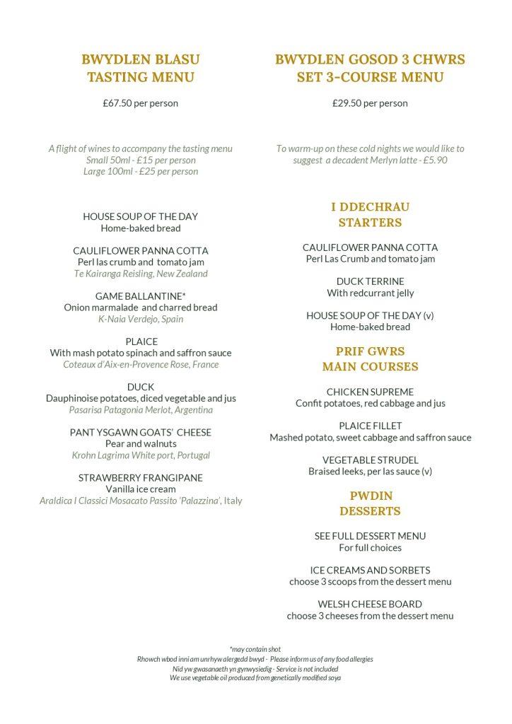 Set dinner menus