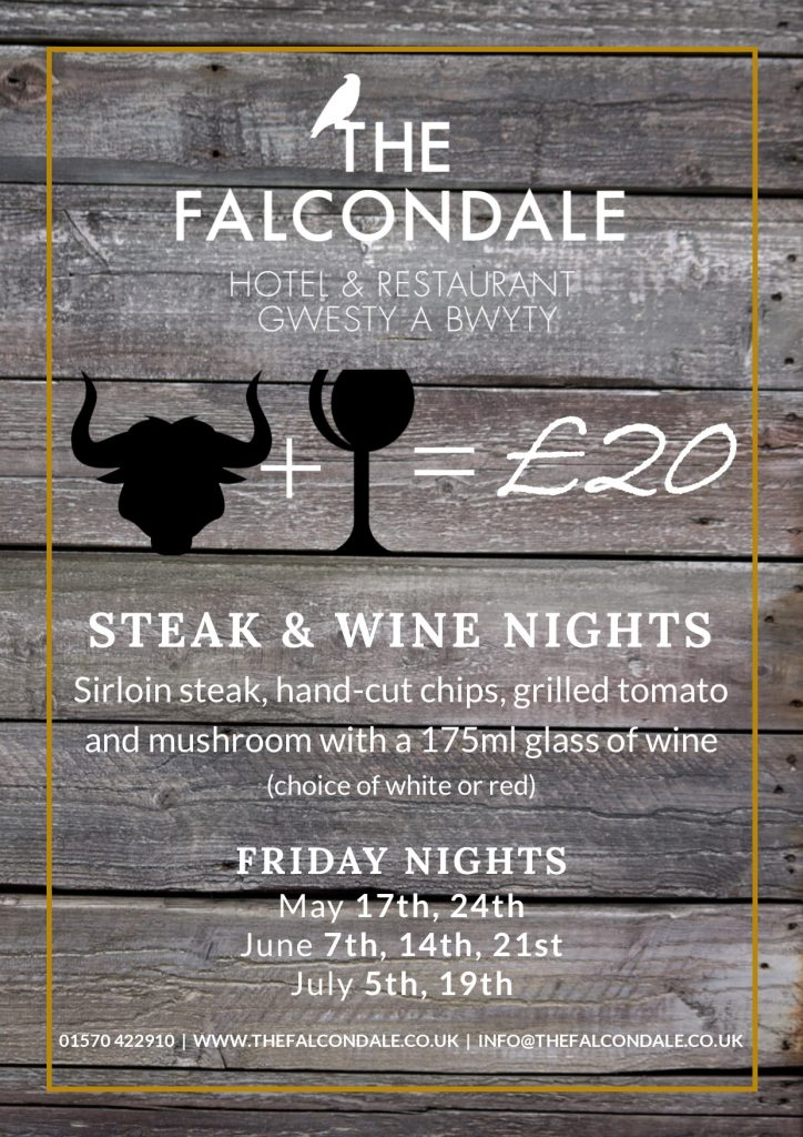Steak and wine at The Falcondale