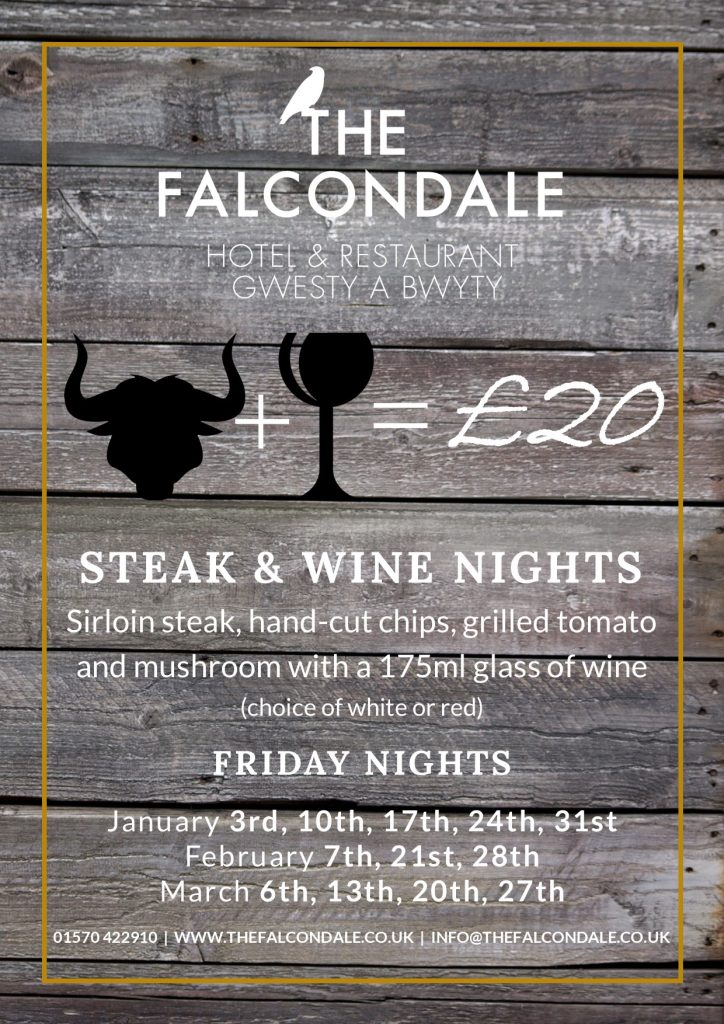 Steak and wine nights at The Falcondale